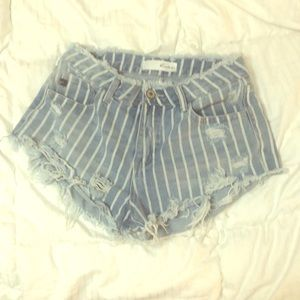 Kancan distressed, striped jean cut off shorts